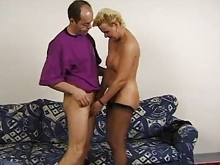 Mature blonde German moans for cock