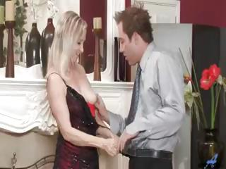 Horny blonde granny sucking and fucking hard young cock and getting a facial