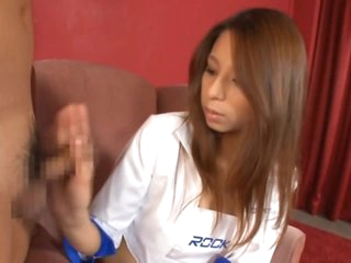 Smutty Asian Babe Reika Sanada Gives Handjobs and Footjobs in a Threesome