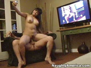 Exotic babe Mika Tan pounds her pussy on to a long thick cock