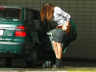 Peeing before washing car