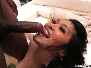 Mika Tan have some cum cream in her mouth