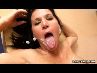 Kendra Secrets enjoys the warmth of fresh goo splattered on her mouth