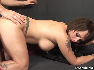 Incredibly hot big racked milf Sophia with tattoos satisfies her fierce appetite for hardcore sex with horny dude. He loves her amazing body and fucks shaved pierced pussy of this milf like crazy till he cum. She gets a creampie cumshot.