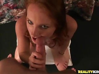 POV sex with redhead that sucks good
