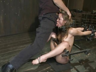 Bound Kristina Rose gets a mouth full of hard cock