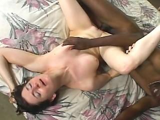 Shameless brunette hottie opens lustfully for big black cock