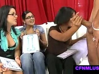 Masturbating in front of ladies during cfnm show