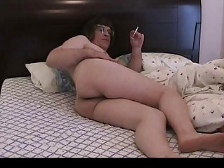 Dirty crossdresser nude at bed