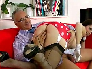 Brunette girlie fucked by old man