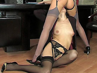 Smart business-ladies licking spruce nylons and pushing tongue into hawt box