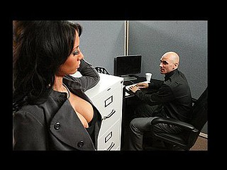 Johnny is trying to concentrate at work, but this guy can't assist but be distracted by his co-worker, Mya's large hawt bra buddies and the provocative way that babe dresses. Frustrated by his inability to pay attention at the office, this chab complaints to his supervisors. Angry and hurt, Mya uses her luscious large titties to persuade Johnny to take action that's not so legal...