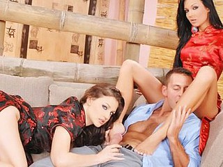 Regina Moon and Florencia  have a hting for fucking one dude at the same time! This fortunate guy gets all the superlatively good treatment and thanks 'em with a cum shot!!