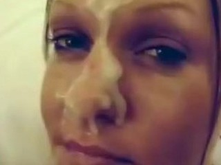 Katrine has never said yes to her husband's request of shooting his cum right on her face, until now! Check out this wife's stolen homemade facial video where she wanks her man good and let him cover that beautiful face with goo!