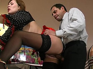 Aging businessman uses his rock hard pipe to fill French maid