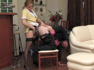 Lewd French maid using her subrigid tool to give horny guy a good anal workout
