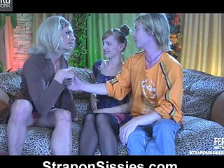 Freaky pair invites their dolled-up sissy ally for a dong threesome