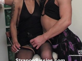 Horny sissy guy teasing strap-on armed honey till mind-blowing booty-screwing