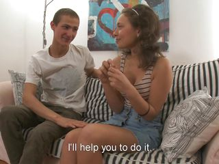 Things start to get hot and heavy for the sweet teen Alexis. She talks with this guy about her present, a dildo. The dude just wanna help her test it so she undresses and bends over in front of him on that couch. He licks her pussy, fingers it and then slowly inserts her present in her shaved, young pussy.