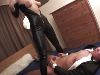 Welcome home honey! Before we go to bed, why don't I show you my new leather body suit? And while we're at it, why don't you taste my tight butt hole and I'll ride your angry dick while you you play with my heavy jugs at the same time? We'll reach heaven before we call it a night, my dear hubby!