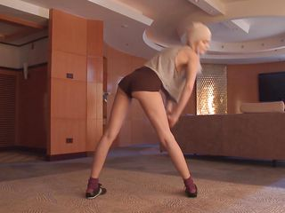 Sasha is a very flexible blonde chick. She has this sexy body with sweet titties, long thin legs and a butt that just begging for a dick in it. See how she moves and takes off her blouse? Probably she's getting hot and soon she will need to get naked.