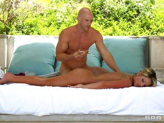 Whether girl wanted her or not, once she got down to let him massage her. there was not much chance that the bald guy will pass up such a golden opportunity. Before long he licks her oiled cunt and makes her ready to receive the big one right up her ass. Of course, she is loving it all the way.