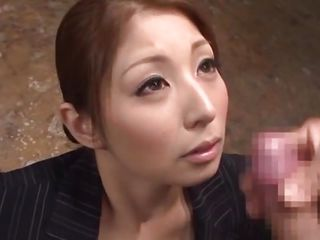 Hina has a pretty face and she looks prettier with cum on it. This japanese bitch waits patiently for her man to masturbate until he jizz and when he cums on her slutty face Hina starts to be happy and enjoy the warm sperm. The cum slowly trickles on her face and those beautiful big eyes are looking at us