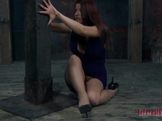Bounded beauty is dripping wet from her sexy punishment