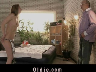 Gitta Blond is a sexy youthful beauty and a spoiled mistress. When this babe is horny and needs a pussyfuck this babe appeals to her old janitor. Oldman is still working and manages to satisfy her tiny vagina brilliantly