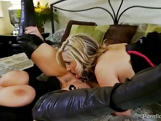 Two busty blondes in black dresses get dirty in threesome with hot stud