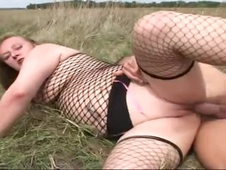 Fat bitch in fishnets fucked outdoors