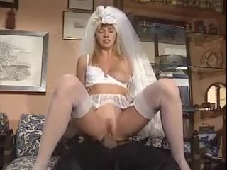 Groom fucks his bride in the white lingerie