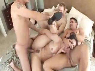 Brunette babe, Bobbi Starr gets her holes filled by three hard dicks