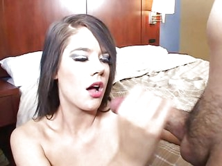 Young brunette creampied