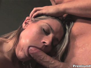 Pretty girl Megan Joy gets face fucked before she takes cumshot on her tongue and swallows sperm. She's a pretty face and loves to suck before cum dessert.