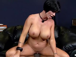 Big tit milf Shay Fox rides black dick