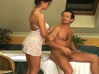 Brunette with natural tits riding him in the bathroom