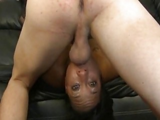 Stupid Black Slut Gagging On White Cock