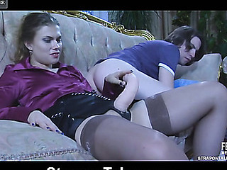 Bold hussy parts her legs and lets her paramour-chap swallow a chubby ding-dong knob
