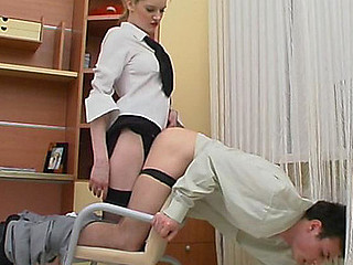 Horny guy jumping on strap-on of sex-craving secretary right in the office