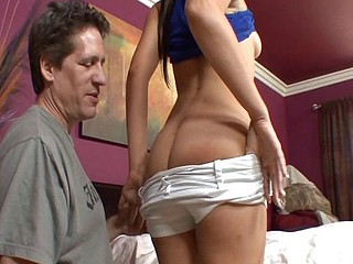 Petite brunette homemaker gets passionately screwed by her man