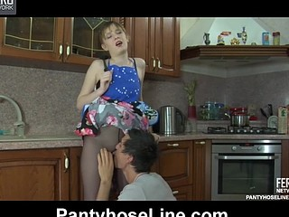 Horny housewife gets drilled thru her barely black hose in the kitchen