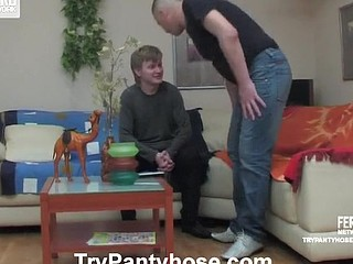 Kinky gay guy in black hose throwing greetings butt on ready to burst schlong