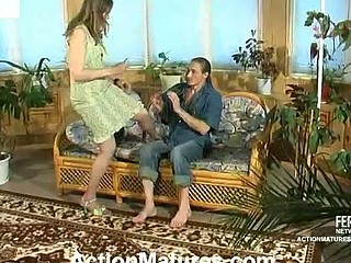 Lewd mommy with wet crack on fire cowgirl riding on pulsating 10-Pounder right on floor