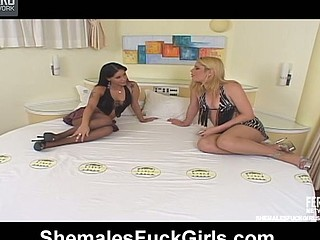 Lusty honey giving shemale a pantyhosejob in advance of taking knob up her wet muff