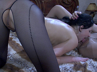 Fervent gals in awesome hosiery French giving a kiss and lapping up wet love tunnels