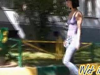 Public jeans wetting and gazoo close-ups