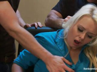 With guns in front of her face the blonde milf gets scared and obeys these guys. They want to use her body so they grab the slut, lay her on the desk and spread her thighs. One of the men begins fucking her shaved vagina and other her mouth while the others keep her down. Will she learn to like it?