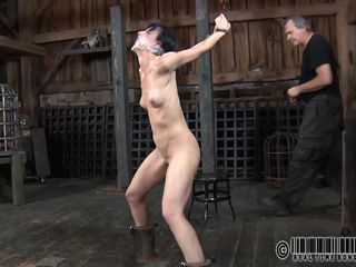 Did she talked to much or just lost her panties? Either way the brunette cunt Elise receives a mean and rough punishment for what she did. Her mouth is folded with scotch tape and after the executor takes it off. Well, there are here panties she was looking for. Now our brunette receives a hard mouth fuck