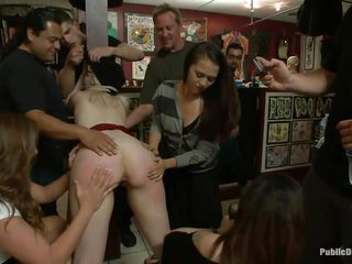 Sexy blonde whore is being humiliated in public and gets her pussy fingered so hard. Having her ass spanked by other hot bitches and men, she swallows their spit. The other people enjoy it too and start kissing. Now, she is having her ass hole fingered and fucked, while her cute titties are spanked with no mercy!